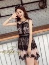 LACE DRESS BLACK FLOWER DRESS คอกลม แขนกุด งาน Brand Korea เปน dress ทรงบาน เนื้อผ้าลูกไม้มุ้ง เนื้อดีมากค่ะ ลายสวย ทอลายแน่น เปนลูกไม้ลายดอกไม้ ใ