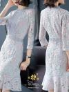 ชุดเดรสแฟชั่น เดรสเกาหลีคอกลมแต่งลูกไม้ แขนยาวคลุมศอก