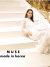 ชุดเดรสแฟชั่น เดรสเกาหลีเดรสแมกซี่ตัวยาวสีขาว ช่วงอกและชายกระโปรงแต่งระบายลูกไม้