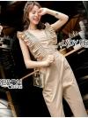 จั๊มสูทแฟชั่น จั๊มสูทขายาวผ้าคอตตอนสีเบจทองตกแต่งระบาย ตัวนี้เป็นสไตล์เกาหลี