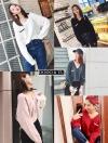 เสื้อแขนยาวไหมพรมสไตล์เกาหลี คอวี กระเป๋าจริงตรงหน้าอก ผ้านิ่มใส่สบาย