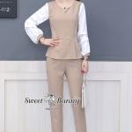 ชุดเซต 2 ชิ้น ชุดเซตแฟชั่นชุดเซ็ทเสื้อ+กางเกง+เข็มกลัดงานเกาหลี