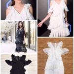 Dress คอวีแขนกุด มีสายระบายห้อยที่แขน เนื้อผ้าชีฟองมีเลื่อมวิ้งรอบตัว ระบายรอบเอวและช่วงกระโปรง มีซับในและซิปหลัง