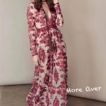 ชุดเดรสแฟชั่น เดรสเกาหลี Maxi dress แขนยาวปักลายดอกไม้ทั้งตัว