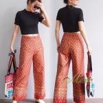 กางเกงแฟชั่นเอวสูงทรงขาตรง พิมพ์ลายไทยทั้งตัว เนื้อผ้า Cotton