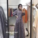 ชุดเดรสแฟชั่น เดรสเกาหลี Maixi dress คอปีนแขนยาวปลายแขนพองๆนิดๆ