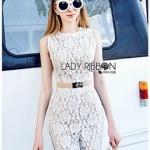 Lady Emily Sleeveless Plain Lace Jumpsuit