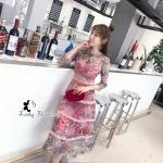ชุดเดรสแฟชั่น เดรสเกาหลีเเขนยาวลายดอกไม้สุดเซ็กซี่มากนะออเจ้า ซีทรูช่วงไหล่