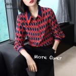 เสื้อแฟชั่นเกาหลีเสื้อเชิต Gucci ลายสีเหลี่ยมขนมเปียกปูน