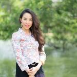 KJ001 เสื้อลายดอกผ้าเกาหลี