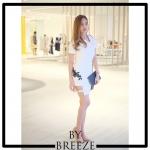 ชุดเดรสแฟชั่น เดรสเกาหลีDressสีขาวเเขนสั้น ทรงดีไซน์เก๋มากๆมีซิปผ่าเฉียง