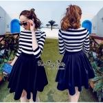 Lady Ribbon Online ขายส่งเสื้อผ้าออนไลน์ Very very pretty VP03030816 Sweetie Stripe Black&White MiNi Dress Fashion Korea มินิเดรสล