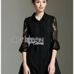 Cotton Shirt Lady Ribbon Shirt Dress