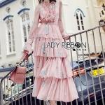 Lady Jill Printed Layered Pink Chiffon Dress
