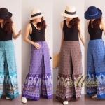 กางเกงแฟชั่น เอวสูงทรงขาบาน พิมพ์ลายไทย เนื้อผ้าฝ้าย
