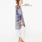 เดรสเชิ๊ต ZARA ลายริ้วแทรกพิมพ์ลายดอกสีสันสดใส แพทเทิร์นโอเวอร์ไซส์ ผ้านิ่มใส่สบายค่ะ