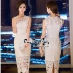 Lady Ribbon Online ขายส่งเสื้อผ้าออนไลน์ Very very pretty เสื้อผ้า VP0210816 Elegant Premium Flora Long Lace Sleeveless Dress
