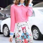 กระโปรงสวยหวานน่ารัก เสื้อผ้าชีฟองเกรดเอเนื้อหนา สีชมพูสวยหวาน ทรงเชิ้ตคอปกและแขนเสื้อ ใช้ผ้าสีฟ้าตัดกับสีเสื้อให้ดูสวยโดดเด่นปกหยักนิดๆ