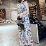 Chiffon Sleeveless Lady Ribbon Maxi Dress