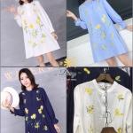 เสื้อแฟชั่นเกาหลี ปักสีสวยงานละเอียดผ้าคอตตอนความหนาปานกลาง