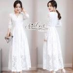ชุดเดรสแฟชั่น เดรสเกาหลีเดรสลูกไม้สีขาวแขนยาว คอวี ใช้ผ้าลูกไม้อย่างดี ผ้านิ่ม