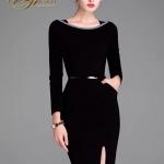 เสื้อผ้าชุดดำDress คอเหลี่ยม แขนยาว เนื้อผ้าโพลีเอสเตอร์ เนื้อดีมากค่ะ