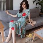 ชุดเดรสแฟชั่น เดรสเกาหลีชุดเดรสผ้าชีฟองลายดอกไม้ แบบแขนค้างคาวเข้ารูปที่เอว