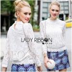 Lady Ribbon Online ขายส่งเสื้อผ้าออนไลน์ ขายส่งของแท้พร้อมส่ง Lady Ribbon LR02050716 &#x1F380 Lady Ribbon's Made &#x1F380 Lady Becca Smart Elegant High-Neck White Lace Blouse