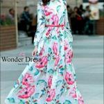 ชุดเดรสแฟชั่น เดรสเกาหลีเดรสลายดอกกุหลาบตัวยาวทรงสวยรุ่นนี้สาวๆไ