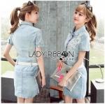 Lady Ribbon Online ขายส่ง เสื้อผ้าออนไลน์ ของแท้ ราคาถูกพร้อมส่ง เลดี้ริบบอน LR09140716 &#x1F380 Lady Ribbon's Made &#x1F380 Chanel White Lace Denim Shirt Dress with Belt