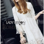 Lady Ribbon Online ขายส่ง เสื้อผ้าออนไลน์ ของแท้ ราคาถูกพร้อมส่ง เลดี้ริบบอน LR03140716 &#x1F380 Lady Ribbon's Made &#x1F380 Lady Kate Modern Bohemian Fringed White Lace Dress