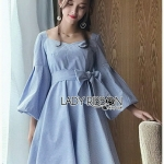 Baby Blue Mini Dress with Ribbon