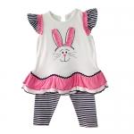 เสื้อผ้าเด็กขายส่ง ชุดเสื้อเลกกิ้งเด็ก ชุด 2 ชิ้นปักลายกระต่าย