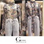 เสื้อแฟชั่นเกาหลีเสื้อคอปีนแขนยาวลายดอก เนื้อผ้าซีฟองอย่างดีผ้าไม่บางคะ
