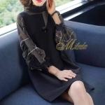 เสื้อแฟชั่นเกาหลีDress คอปีน แขนยาว ทรงตรง เนื้อผ้าโพลี เอสเตอร์