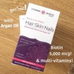 Hair, Skin and nail สูตรใหม่ มี Argan oil และ biotin 5,000 mcg ทานง่ายวันละเม็ดจ้า