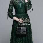 ชุดเดรสแฟชั่น เดรสเกาหลี เดรสลูกไม้สีเขียวลุคเรียบหรู ผ้าทอลายสวยทั้งตัว เนื้อนิ่มใส่สบายค่ะ
