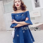 Denim Mini Dress Lady Ribbon มินิเดรส