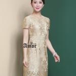 """ชุดเดรส Korea Designed ลูกไม้ปักถักทอเงางาม เนื้อผ้าเกรด """"Premium Quality"""" สุดๆ มีความเรียบหรูดูไฮดูแพง ใส่ออกงานไหนๆก็ฟินมากๆค่ะ ⚜ ซับในเป็นผ้าซาตินเนื้อดีเงางาม โปรดสังเกตุ🏷ป้าย แบรนด์"""" Amor """" คุณภาพที่เหนือกว่า"""
