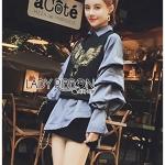 เสื้อแฟชั่นเกาหลีเสื้อผ้าแฟชั่น Set เซ็ตเสื้อแขนกุดสีดำปักหมุดลายนกทับเสื้อเชิ้ต