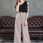 กางเกงแฟชั่น กางเกงขาบานขอบเอวยกสูงแต่งกระดุมทองเม็ด