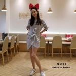 ชุดเดรสแฟชั่น เดรสเกาหลีช่วงเอวแต่งเป็นโบว์ใส่ออกมาน่ารักมากๆ จะใส่เป็นเปิดไหล่