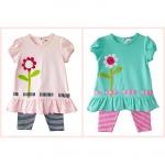 เสื้อผ้าเด็กขายส่ง ชุดเสื้อเลกกิ้งเด็กหญิงติดดอกไม้สีหวานน่ารัก