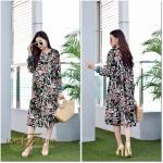 ชุดเดรสแฟชั่น เดรสเกาหลีDress คอกลม แขนยาว เนื้อผ้า Chiffon พิมลายดอกไม้