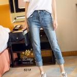 กางเกงยีนส์ทรงเดฟ ผ้ายีนส์ฮ่องกง รุ่นขายาวผลิตมาไซส์ใหญ่ ให้คนสะโพกใหญ่ที่หายีนส์สวยๆใส่ยากค่ะผ้ายีนส์ยืด