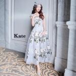 ชุดเดรสแฟชั่น เดรสเกาหลี Dress สวยไฮโซ ปักลายดอกกุหลาบสีขาว
