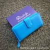 กระเป๋าสตางค์ผู้หญิง ใบยาวสวยงาม สีฟ้า ทำจากหนังวัวแท้แสนนุ่ม ทนทาน โดนน้ำได้ ไม่ลอกร่อน พร้อมกล่องแบรนด์แท้ Moonlight