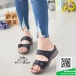 รองเท้าเพื่อสุขภาพสีดำ แต่งอะไหล่ดอกไม้ (สีดำ )