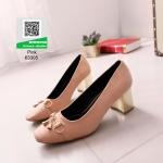 รองเท้าคัทชูหัวกลมสีชมพู ส้นทอง (สีชมพู )