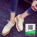 รองเท้าคัทชูเสริมส้นสีครีม ทรงมัฟฟิน ลายไม้ (สีครีม )